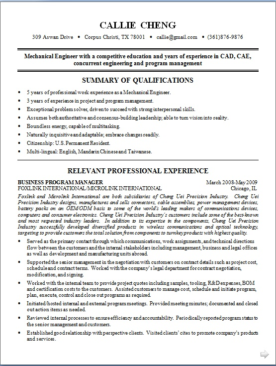 mechanical engineer resume model in word format free download