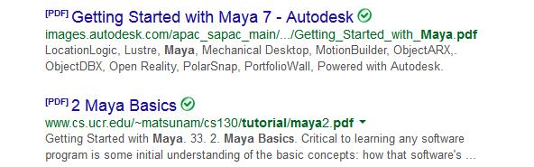 screenshot for google search on pdf tutorials
