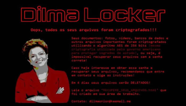 Ransomware brasileiro chamado 'Dilma Locker' pede resgate de R$ 3 mil.