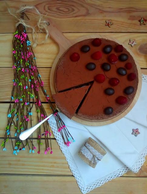 Tarta de tofu & chocolate. Chocolate tofu cheesecake. Postre vegano sin horno. Cuca
