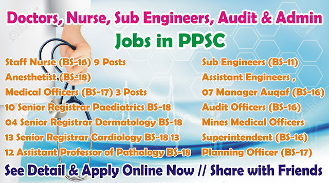 Doctor, Nurses, Audit Admin Jobs in PPSC Consolidated Advertisement