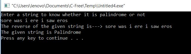 To know whether the given string is Palindrome or not