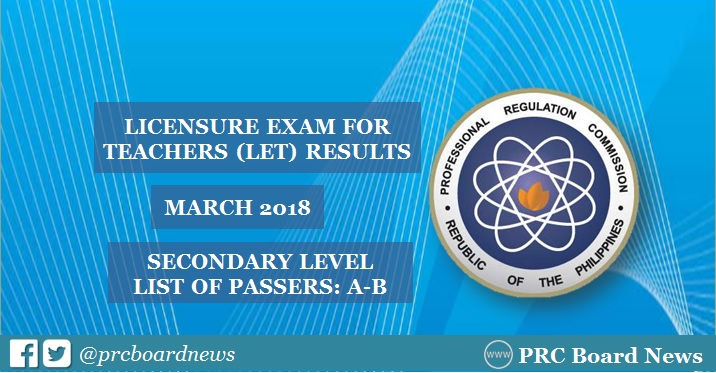 A-B Passers: March 2018 LET Results Secondary Level