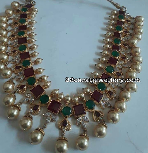 Ruby Emerald Sets with Large South Pearls