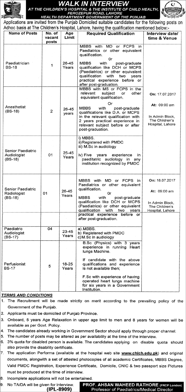 Jobs in Children Hospital And Institute Of Child Health Lahore July 2017
