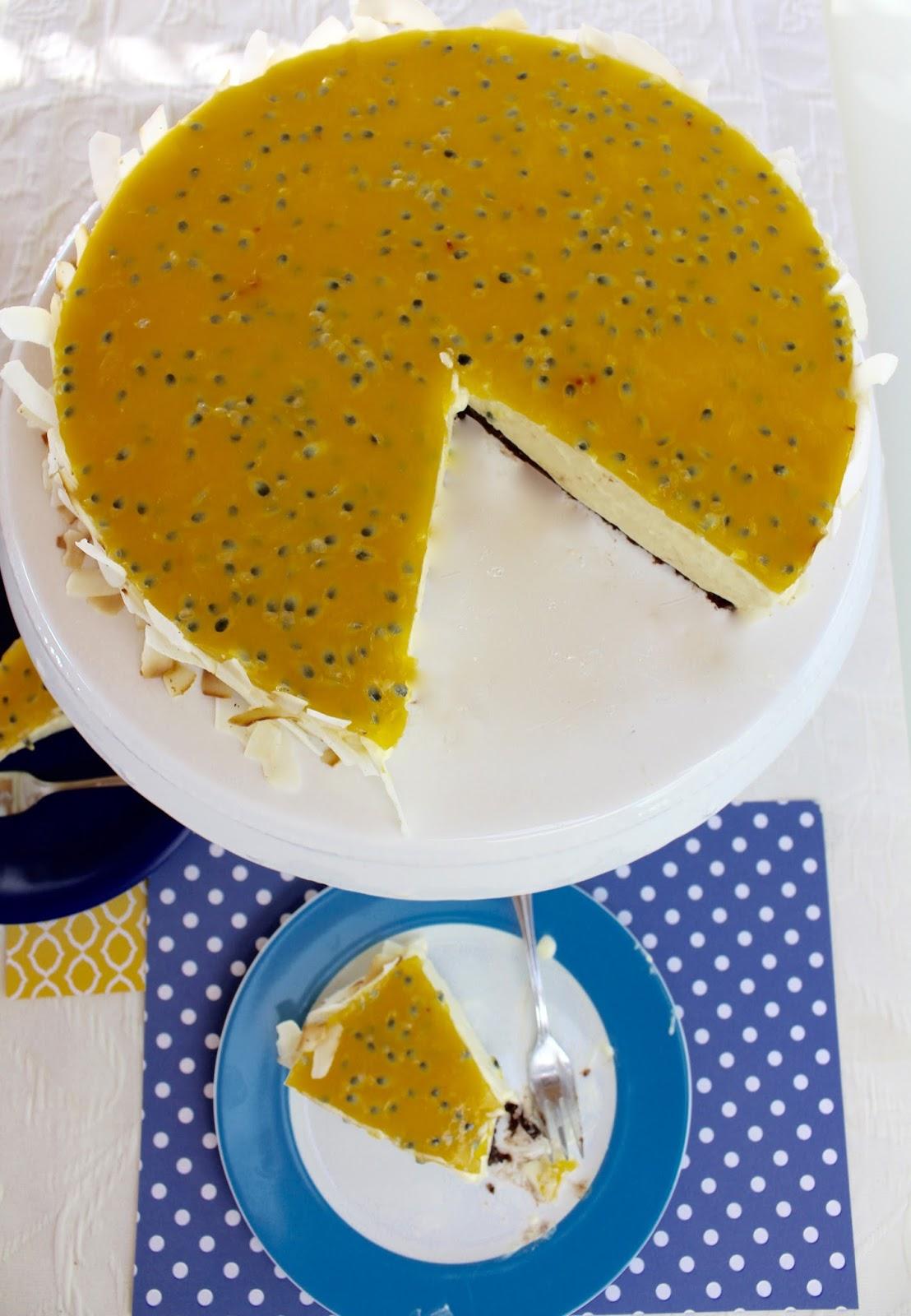 Cheesecake mit Kokos und Passionsfrucht - Torte ohne Backen