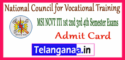 MIS NCVT Ministry of Skill Development and Entrepreneurship 1st 2nd 3rd 4th Semester Admit Card 2017-18