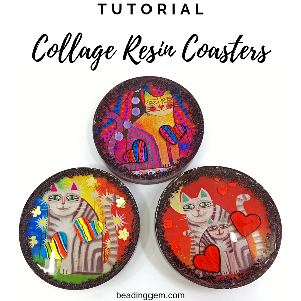 collage resin coaster tutorial using photo paper