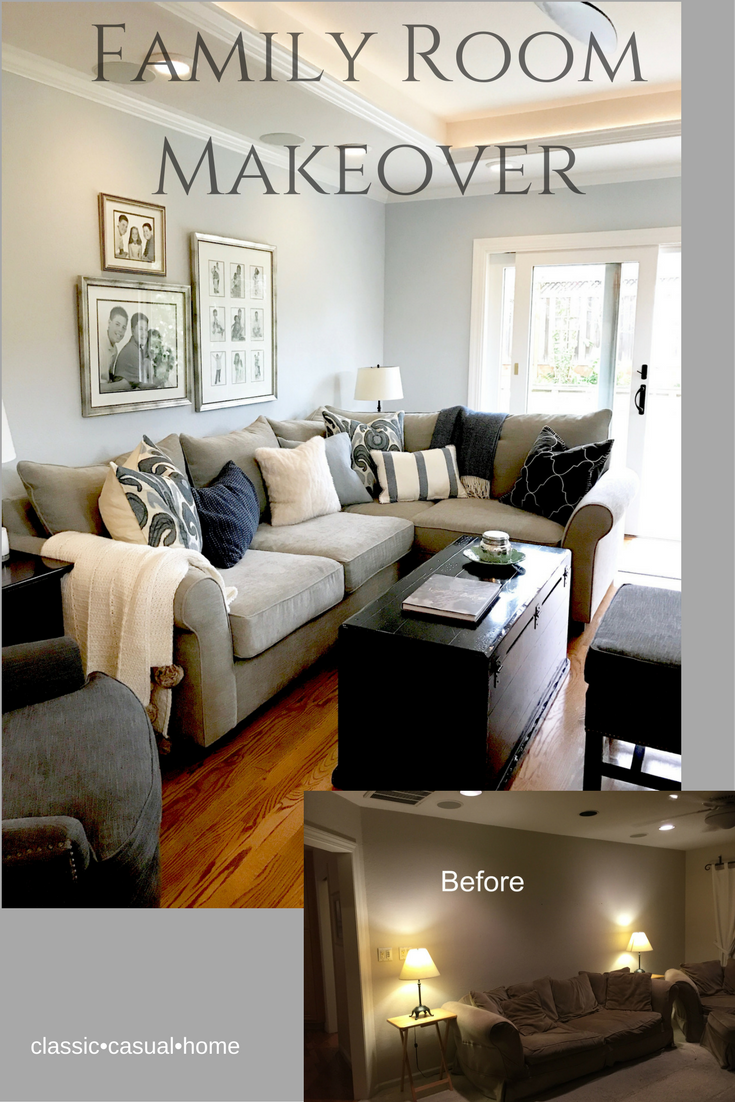 Classic Casual Home Blue And Gray Family Room Makeover