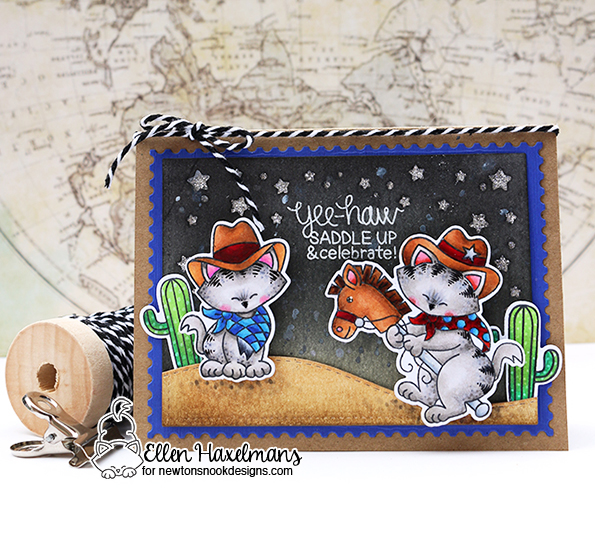 Cowboy Night scene card by Ellen Haxelmans | Newton Rides West | Cat Cowboy Western Stamp Set by Newton's Nook Designs #newtonsnook