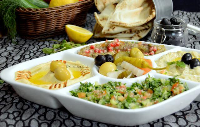 Arabic Mezze Platter | Hummus | Mutabbal | Babaganosh | Tabbouleh