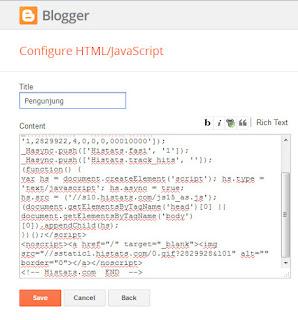 Cara memasang kode histats pada blog