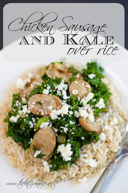 The finished chicken sausage and kale over rice, on a white plate, with the title above it.