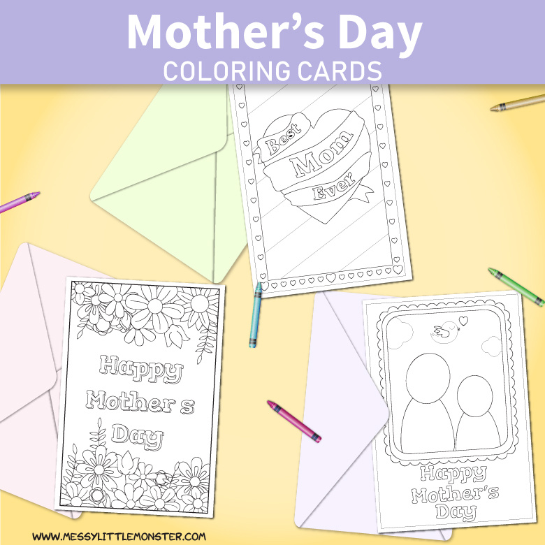 image regarding Printable Mothers Day Cards to Color referred to as Printable Moms Working day Playing cards in direction of Colour - Messy Very little Monster