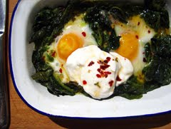 Baked Eggs with Spinach Yoghurt and Chilli Butter
