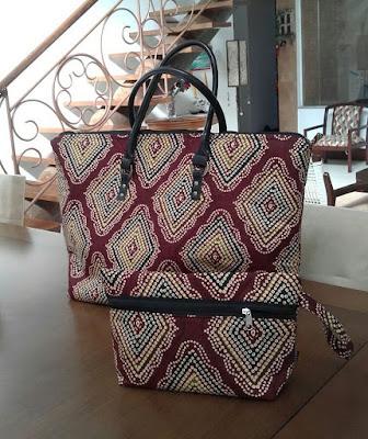 bolsa de viagem feminina exclusiva da Belecar com tecido africano