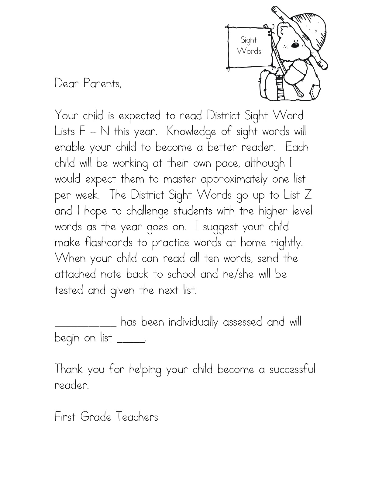 kindergarten teacher introduction letter to parents | Maria blog