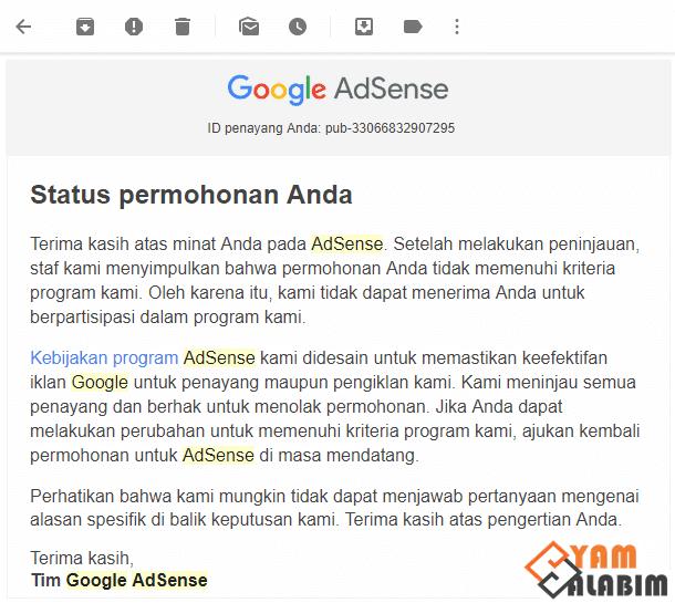Email Penolakan Google
