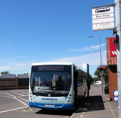 An X4 bus waiting on Cary Lane, Brigg, when the service was launched in summer 2018. Picture on Nigel Fisher's Brigg Blog