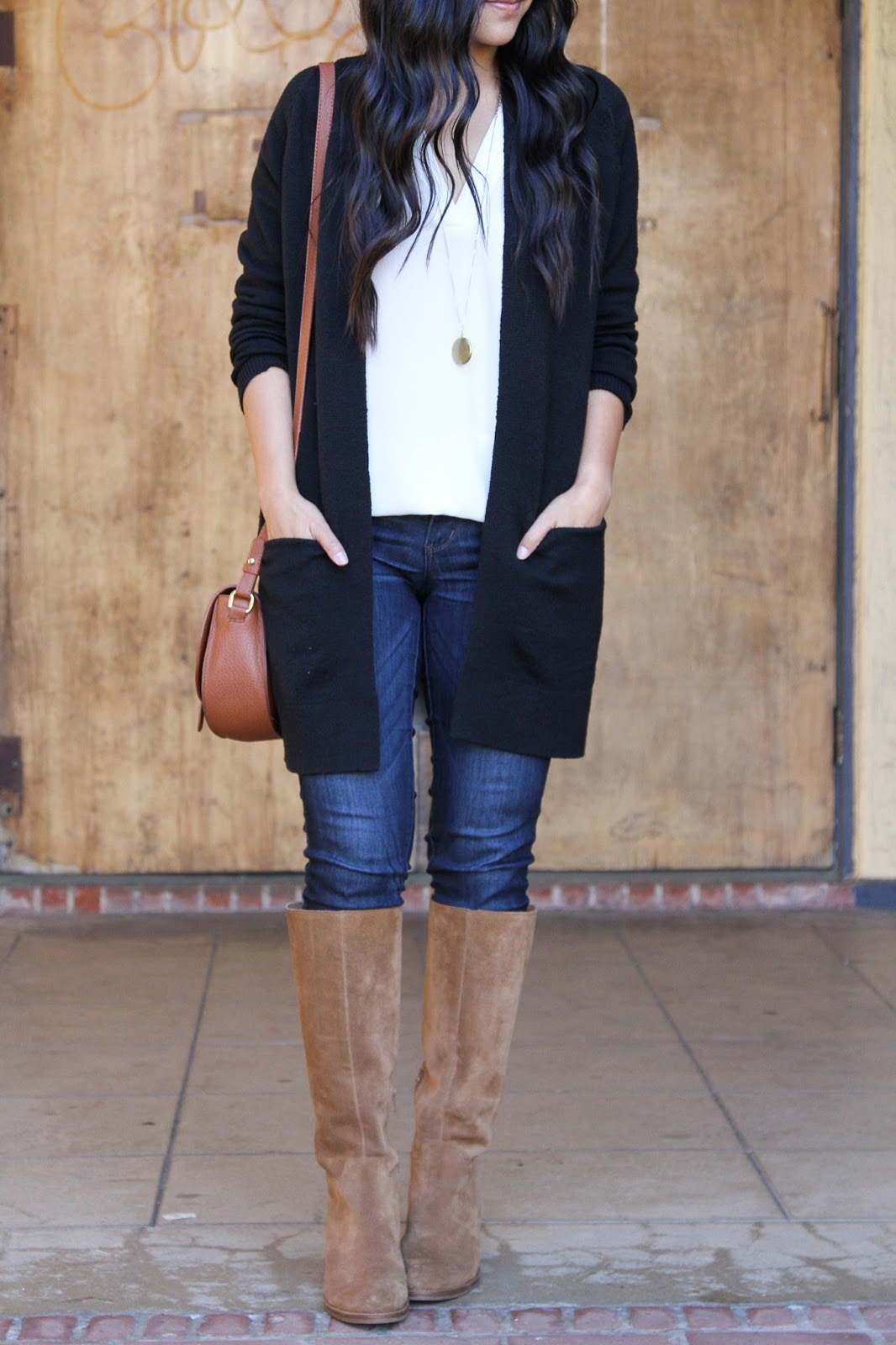White Blouse + Black Cardigan + Skinnies + Riding Boots + Pendant Necklace