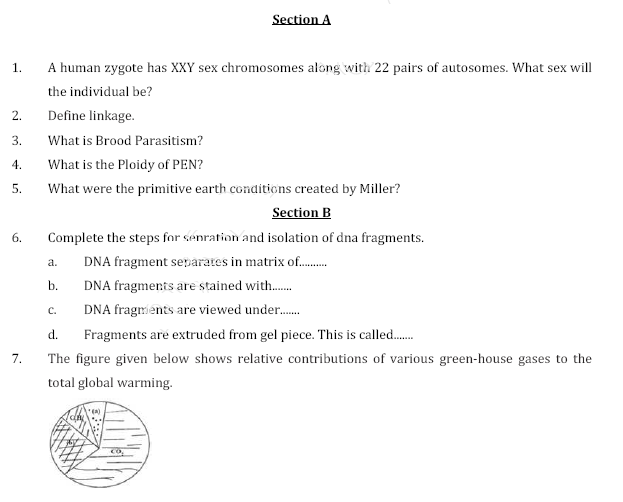 CBSE Sample paper for class 12 Biology