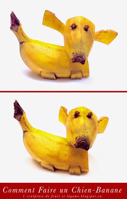1 sculpture de fruit et l gume comment faire un chien banane fun food for kids the banana dog. Black Bedroom Furniture Sets. Home Design Ideas