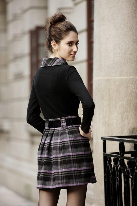 fashion tights skirt dress heels plaid skirt sexy plaid