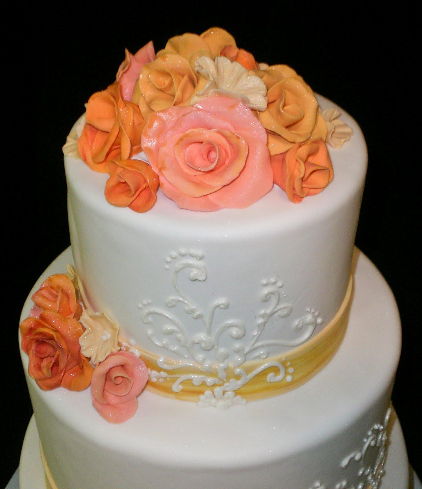 The Crimson Cake Blog: Coral And Yellow Flower Wedding Cake