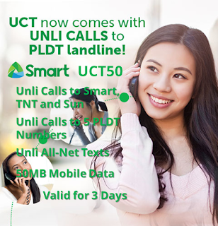 Smart UCT50 : Unli Call to Smart, TNT, Sun + Unli All-Net Texts for 3 Days