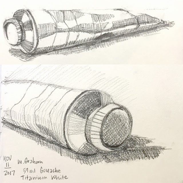 Daily Art 11-11-17 still life sketch in graphite - white gouache tube
