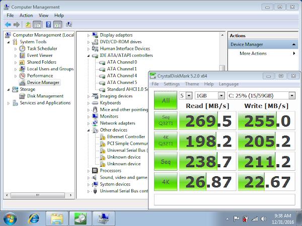 тест на Netac NT620 под Windows 7 в Fujitsu Lifebook AH530 без драйвери