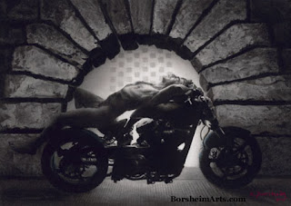 Charcoal drawing Hellcat at the Pitti male model on motorcycle