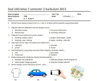 Soal UAS PKn Kelas 5 Semester 2 Kurikulum 2013