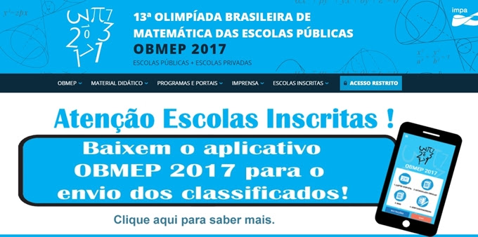 OBMEP lança aplicativo exclusivo para as escolas enviarem o material
