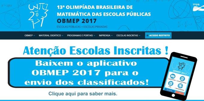 OBMEP lança aplicativo exclusivo para as escolas enviarem o material