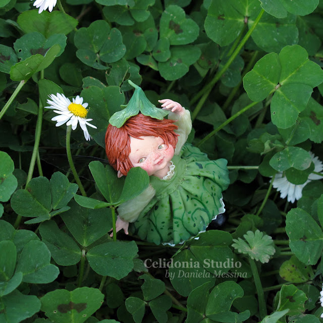 Green Fairy ooak Polymer Clay Miniature Sculpture
