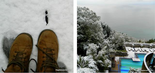 Neve em Taormina, Sicília