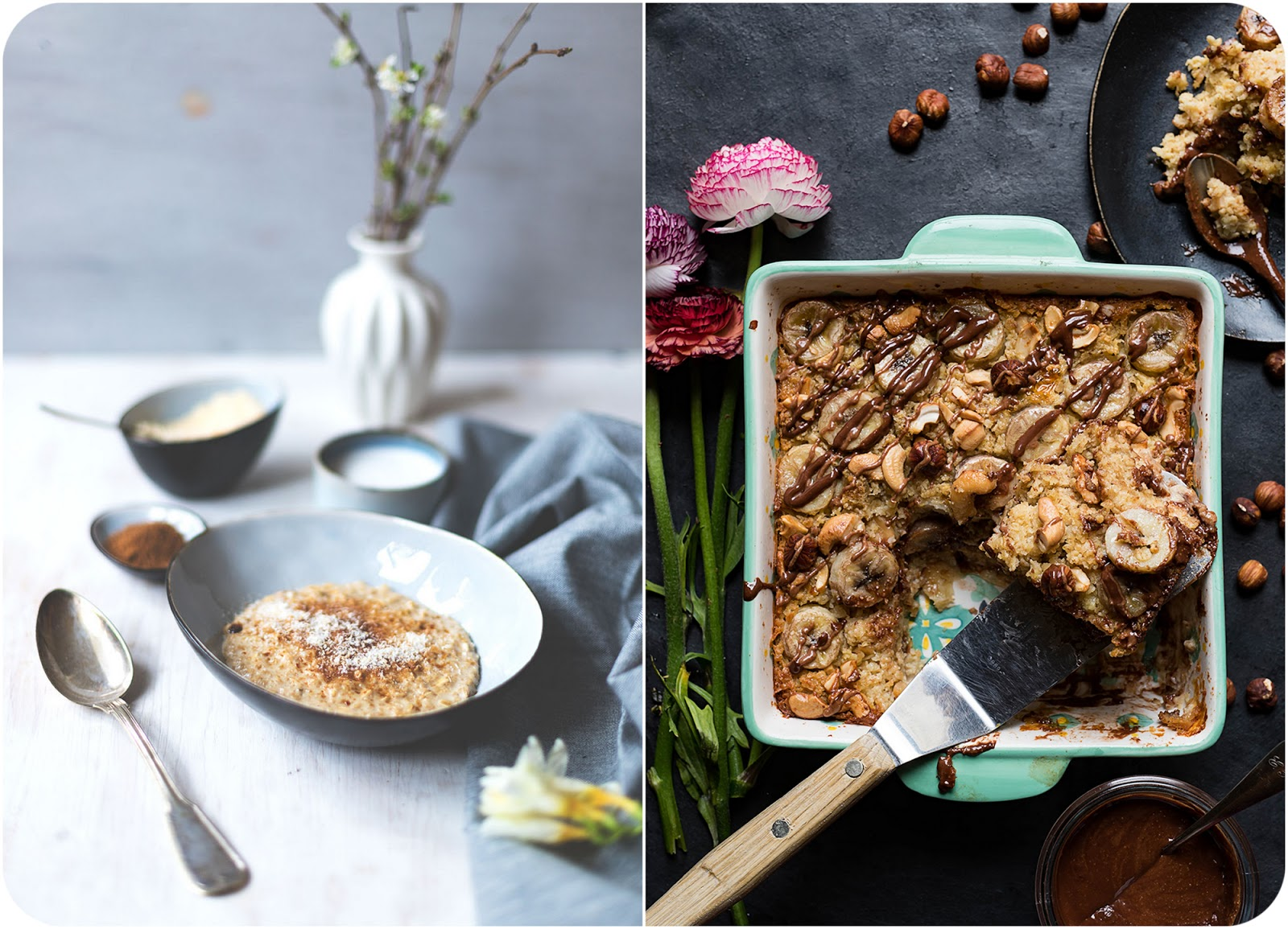 links: Kokos-Porridge auf www.moeyskitchen.com; rechts: Frühstücksauflauf mit Banane und Nougat auf s-kueche.com