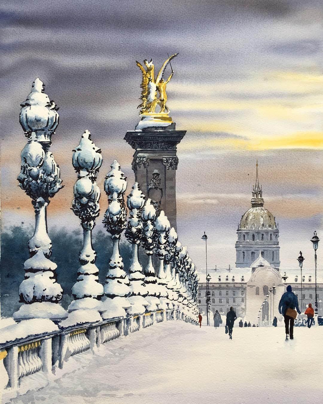 13-Pont-Alexander-III-Igor-Dubovoy-Realistic-Urban-Watercolor-Paintings-www-designstack-co