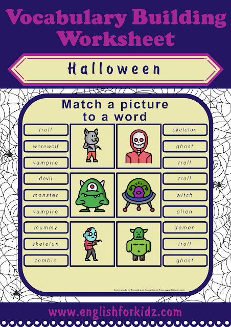 Free printable Halloween worksheets for ESL students