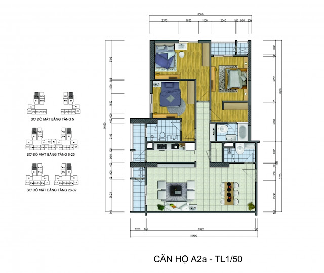 Thiết kế căn hộ A2a Goldsilk Complex