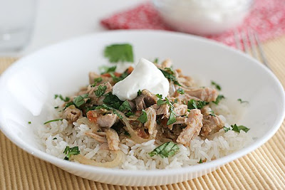 Slow Cooker Salsa Pork from Taste and Tell featured on SlowCookerFromScratch.com