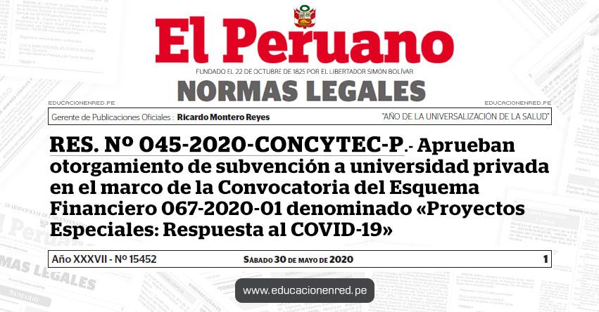 RES. Nº 045-2020-CONCYTEC-P.- Aprueban otorgamiento de subvención a universidad privada en el marco de la Convocatoria del Esquema Financiero 067-2020-01 denominado «Proyectos Especiales: Respuesta al COVID-19»