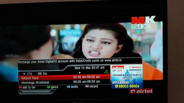 Airtel Digital TV added 4 New Tamil  and 1 Hindi Channels