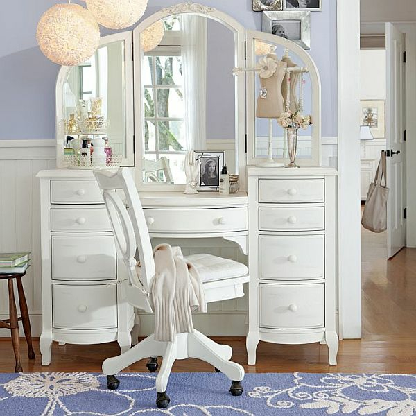 white vanity dressing table set with big mirror and chair