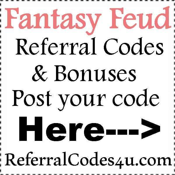 FantasyFeud Referral Codes 2016-2017, Fantasy Feud Promo Codes July, August, September