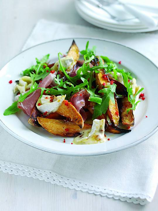 French Goat's Cheese Camembert Salad, Prosciutto, Cumin And Chilli Sweet Potato