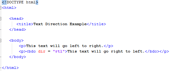 HTML Text Direction