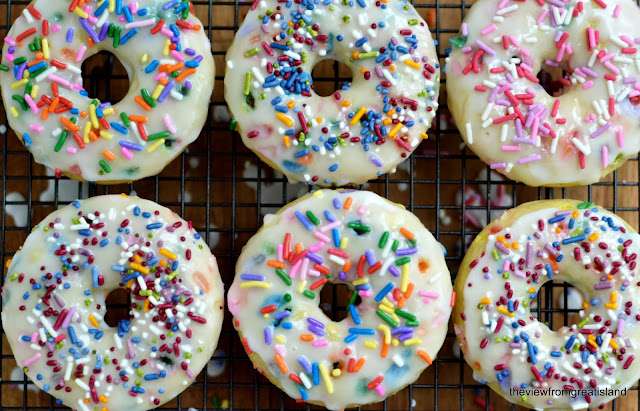 Birthday Cake Doughnuts --- festive sprinkled doughnut recipe