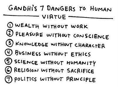 sketches: Gandhi's 7 dangers to human virtue